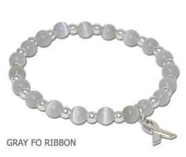 Brain Cancer awareness bracelet with gray cat's eye beads and sterling silver awareness ribbon