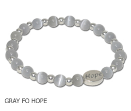 Diabetes Awareness bracelet with gray round glass beads and sterling silver Hope bead