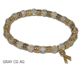 Asthma Awareness bracelet with faceted gray glass beads and antique gold Awareness ribbon