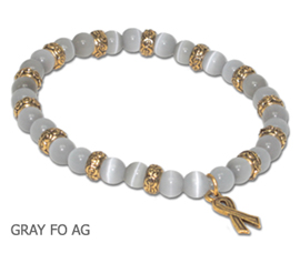 Asthma Awareness bracelet with round gray fiber optic beads and antique gold Awareness ribbon