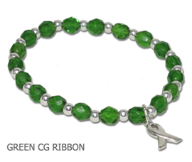 Kidney Cancer awareness bracelet with faceted green glass beads and sterling silver awareness ribbon