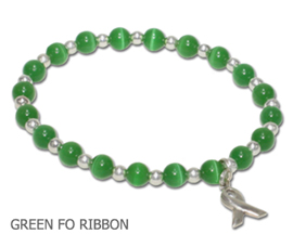 Organ Donation awareness bracelet green fiber optic beads and sterling silver awareness ribbon